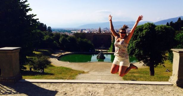 The only successful jumping shot from the Boboli Gardens in Florence.